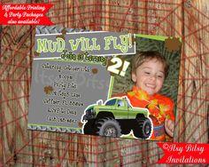 Monster Truck Mud Invitation / Boys Birthday Invitation on Etsy, $10.50