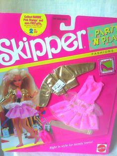 1990 Skipper - Party 🎉 'N Play Fashions 1980s Barbie, Barbie Skipper, Vintage Barbie, Barbie Dolls, Barbie Shoes, Barbie Clothes, Barbie Stuff, Teen Fashion, Fashion Dolls
