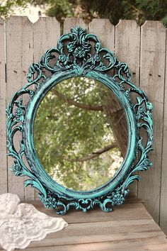 Shabby Chic Mirror, Tiffany Blue, Black, Oval, Upcycled, Ornate, Wedding Decor, Painted Mirror, Hollywood Regency, Baroque Mirror, Aqua
