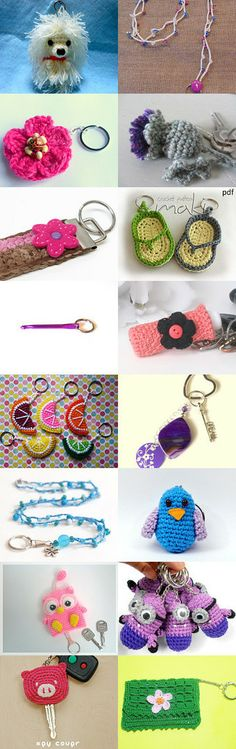 Crochet Key Keepers - Crochet Uniquely round) by Gay Preece on Etsy Crochet Gifts, Cute Crochet, Crochet Toys, Knit Crochet, Crochet Keychain, Crochet Bookmarks, Crochet Earrings, Crochet Key Cover, Crochet Accessories