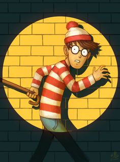 THERE HE IS! by Ry-Spirit, Where is Waldo Fan Art, Digital Painting, Funny Character Design, Spotlight, Illustration, Inspirational Art