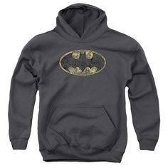 Batman - Tattered Logo Youth Pull-Over Hoodie