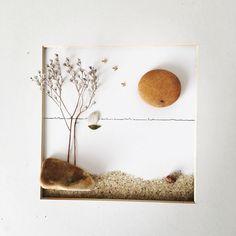 Probando nuevos materiales y jugando con la profundidad. Amanece en la playa. Ya disponible en la web (www.byqio.com) #piedras #ideaspararegalar #regalooriginal #arteconguijarros #cuadrosconpiedras #byqio