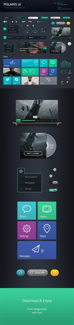 """Polaris UI Free – by Adrian *** """" Polaris UI Free is a set of beautiful free UI components, which includes Edit Boxes, Check Boxes, Radio Buttons, Page Navigation, Menu, Buttons, etc. You can use this UI Kit in any of your projects, and even learn with it, by examining each component to see how it is put together. """""""
