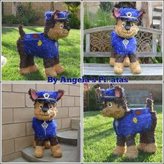 It's Chase! Now grab a stick and let's all beat the. Paw Patrol Pinata Chase Custom Hand Made Piñata by angelaspinatas Paw Patrol Pinata, Paw Patrol Theme Party, Paw Patrol Birthday, Third Birthday, 4th Birthday Parties, Baby Birthday, Birthday Ideas, Cumple Paw Patrol, Birthdays