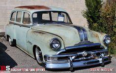 Early '50's Pontiac wagon. That's how I like it, rusty old body, shiny new performance.