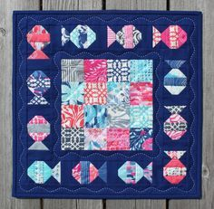 "= free pattern = Just Keep Swimming, 16 x 16"", mini quilt by Jen Daly as seen at Moda Bakeshop"