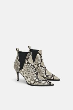 Image 3 of SNAKESKIN PRINT HEELED LEATHER ANKLE BOOTS from Zara Leather High  Heels 93d2589aec4d