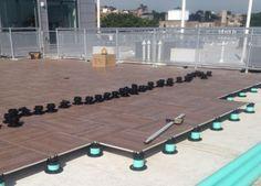 Porcelain Tile Pavers on Pedestal System. Wood Deck Tiles, Concrete Pavers, Interlocking Deck Tiles, Exterior Tiles, Deck Construction, Cool Roof, Rooftop Deck, Roofing Systems, Building A Deck