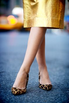 Metallic and leopard print.