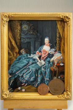 "Miniature ordered reproduction  work. Boucher""Madame de Pompadour"" acrylic on cardboard."