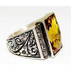 Sterling Silver 925 men ring ,anatolia design with citrine czt. stone