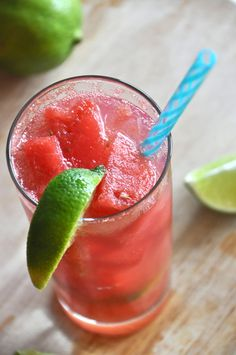 """Grown-Up Watermelon Limeades by minimalistbaker.com: Watermelon """"ice cubes"""" and fresh lime juice are the stars of this simple and refreshing cocktail."""
