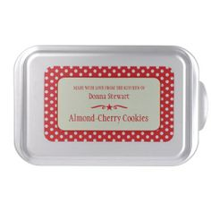 Cookie Exchange custom red polka dot custom tin Cake Pan. Customize with your own name and baking products. Design by www.sarahtrett.com