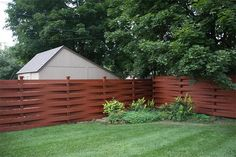 Basket Weave Fence stained with Armstrong-Clark oil based wood stain