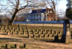 Back of the Carnton Plantation house showing the McGavock Confederate Cemetery where 1,496 soldiers are buried, killed in the Battle of Franklin. It is the largest privately owned and maintained military cemetery in the U.S.