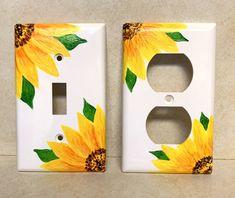 Sunflower Room, Sunflower Kitchen, Room Ideas Bedroom, Bedroom Art, Light Switch Art, Cute Room Decor, Yellow Room Decor, Aesthetic Room Decor, Light Covers