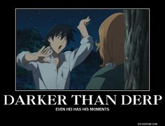 Even Hei has his moments.  Darker than Black, DtB, Hei, funny, lol, laughter, face, dance, anime, guy, animation, Yin, Epsiode 1, histerical, rotfl, image