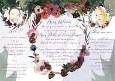 Inside of a tri fold Christmas wedding invitation. #floral #wedding #invitation #christmas #handpainted