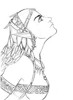 Elf Girl Portrait Coloring page