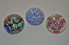 3 SMALL Incredible MILLEFIORI Murrine MURANO Glass PAPERWEIGHTS All have LABELS