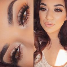 Kylie jenner/ kim kardashian style makeup look with gold Foiled shimmer eyeshadow and glowing skin. Casual daytime glam