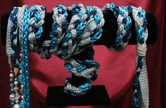 Handfasting cord in navy teal and duck egg blue and silver, including Moroccan woven ribbon, swarovski and glass crackle by BindingTies