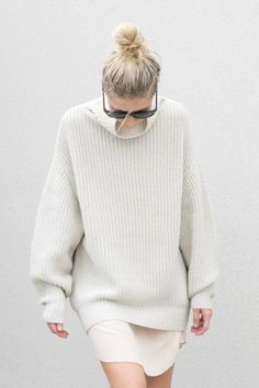big chunky sweater + a topknot