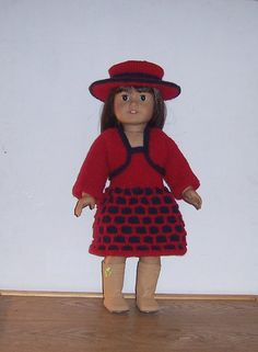 This is an easy knitting pattern for an outfit comprising of a bolero long sleeved jacket, and a matching dress and hat, the pattern detail on