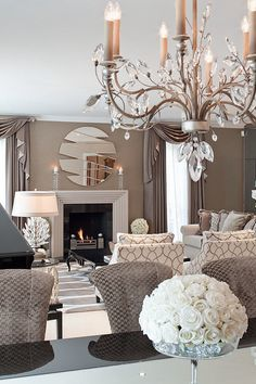 living room, transitional neutral. see a similar chandelier with antique gold arms: Diamante Chandelier, sold by DesignNashville.com