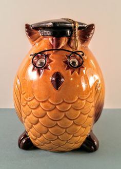Vintage Owl Coin Bank. Brown and Gold Ceramic by VintageQuinnGifts