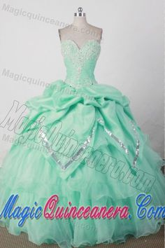Sequin and Beading Sweetheart Mint Green Quincenera Dresses