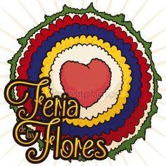 Arreglo de flores redondo con corazón para el Festival de las flores, ilustración vectorial Gráficos Vectoriales