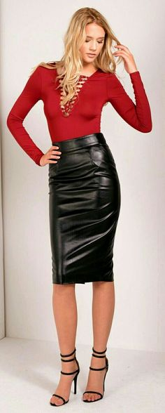 Black leather skirt and ankle strap heels
