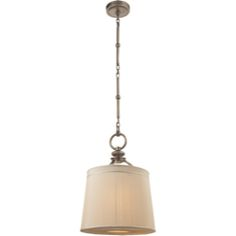 Visual Comfort Thomas O'Brien D'Arcy Small Hanging Light in Antique Nickel with Silk Pleated Shade TOB5079AN-S