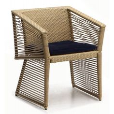 Borneo Dining Chair, Natural with Black Cushion - Custom