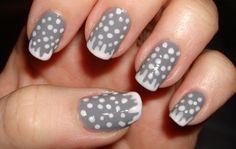 Simple grey and polka dot nail design