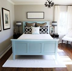 @Kelly Hess this is what I was thinking for your room, but not with the blue, maybe a black head board/foot board and red accents or even a RED head and foot board...