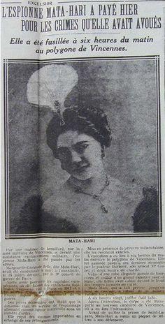 #MataHari | L'exécution de Mata Hari | L'Excelsior | 16 octobre, 1917