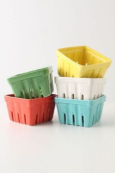 Love these for storing berries in the fridge. So cute and colorful!   ~from anthropolgie