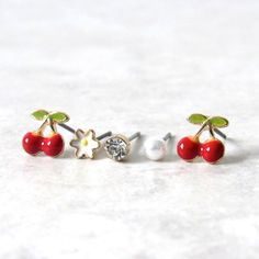 Cherry Earring Set (5pc) via  Kloica Accessories. Click on the image to see more!