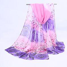 1 개 핫 패션 얇은 목도리 터번 스카프 쉬폰 인쇄 장미 히잡 목 따뜻한 실크 스카프 여성 여자 케이프 50*160 긴 머리띠