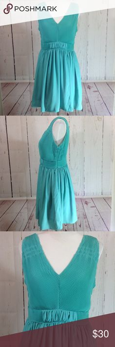 """C. Luce Turquoise Dress - Large C Luce Turquoise Accordion Pleated Sleeveless Sheath Dress Size Large Fully lined Hidden side zip  Shown on a medium size mannequin  Approximate flat measurements:  Chest: 17"""" Waist: 15.5"""" Hips: 22"""" Length from top of shoulder to hem: 35.5"""" C. Luce Dresses Midi"""