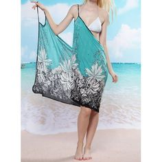 Sexy Spaghetti Strap Floral Print Women's Cover Up