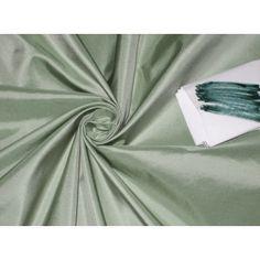 Pure SILK TAFFETA FABRIC Mint Green with Ivory Shot $18.00/yd