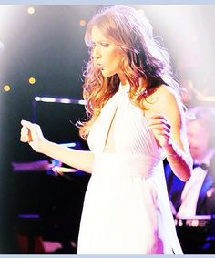 Celine Dion, beautiful in white.