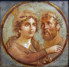 Affresco romano - eracle ed onfale - area vesuviana - Category:Omphale in ancient Roman paintings - Wikimedia Commons. Heracles and Omphale. Ancient Roman fresco, Pompeian Fourth Style AD), National Archaeological Museum of Naples, Italy. Ancient Rome, Ancient Greece, Ancient Art, Ancient History, Classical Antiquity, Classical Art, Roman History, Art History, Pompeii And Herculaneum