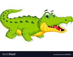 Funny crocodile cartoon posing vector image on VectorStock Lama Animal, Crocodile Illustration, Crocodile Cartoon, Sunday School Crafts For Kids, Inkscape Tutorials, Islamic Cartoon, Class Pictures, Safari Theme, Couple Cartoon
