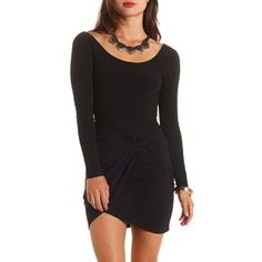 Charlotte Russe Knotted Long Sleeve Bodycon Dress