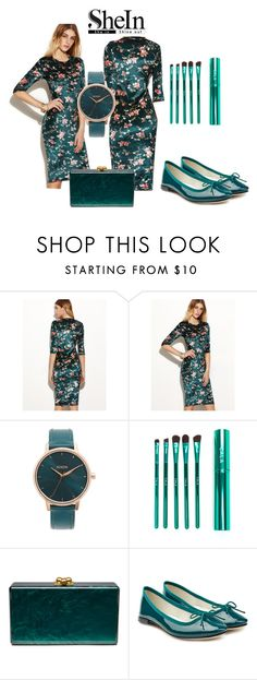 """""""Dark green dress"""" by subvilli on Polyvore featuring Nixon, Edie Parker, Repetto, contestentry and shein"""